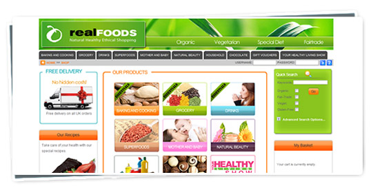 Screenshot of the Real Foods website