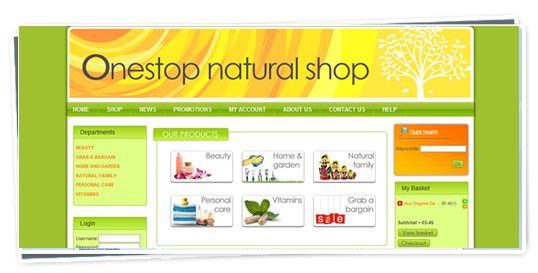 A screenshot of the Onestop Natural Shop website