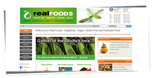 A screenshot of the Real Foods website